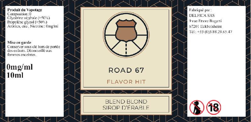 etiquette eliquide road 67 flavor hit