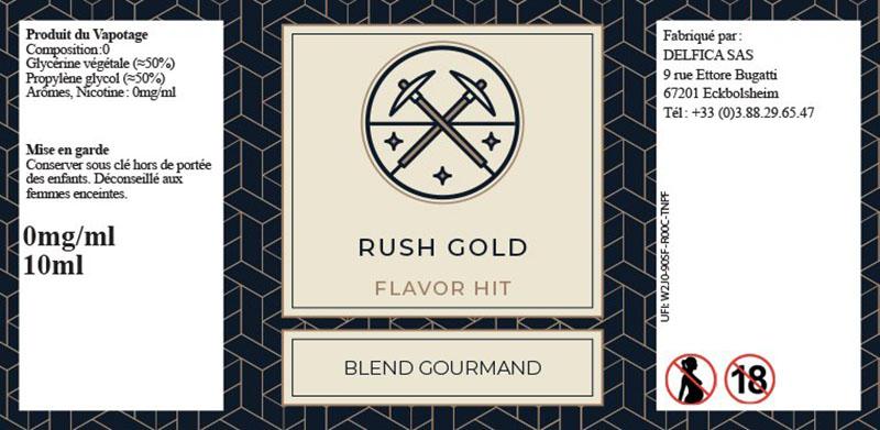 étiquette eliquide rush gold flavor hit