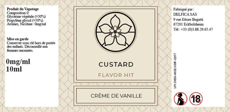 etiquette eliquide custard flavor hit