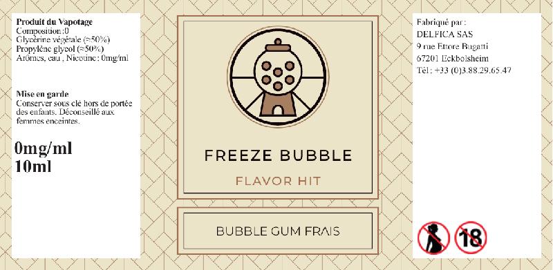 etiquette eliquide freeze bubble flavor hit
